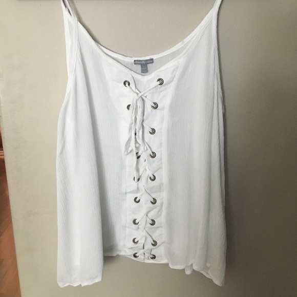 Lace-up tank top NWOT